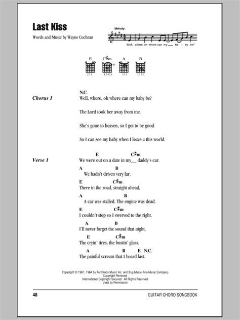 last kiss tutorial guitar last kiss by j frank wilson guitar chords lyrics
