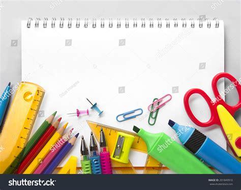 background design school school supplies on white background ready stock photo