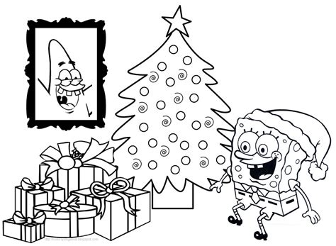 spongebob christmas coloring pages free printable spongebob coloring pages