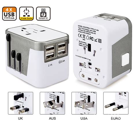 Travel Extension Adaptor 4usb Port buy 4 usb port all in one universal international adapter world travel ac power charger