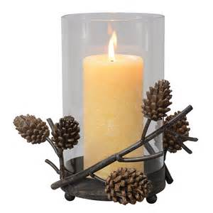 pinecone hurricane candle holder