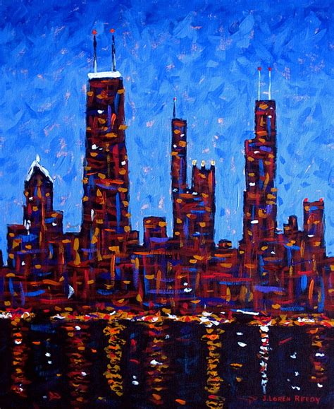 paint nite chicago chicago skyline at from avenue pier vertical