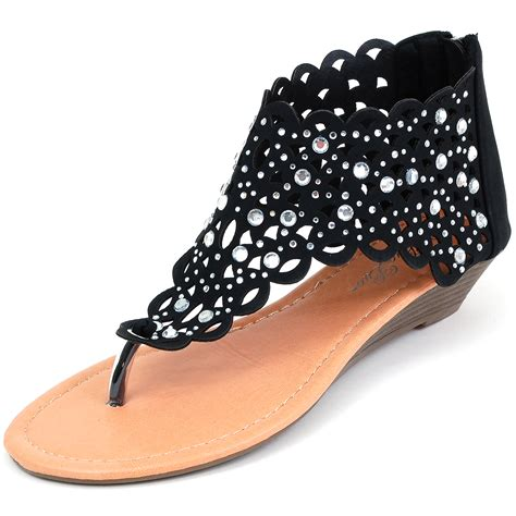 Rhinestone Wedge Sandals womens gladiator sandals wedge heel thongs dressy ankle