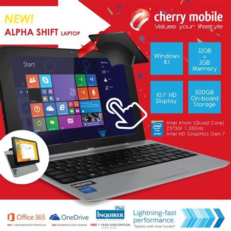 mobile alpha cherry mobile alpha shift windows notebook tablet device