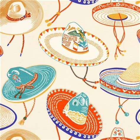 mexican upholstery fabric beige mexican sombrero hat fabric by alexander henry