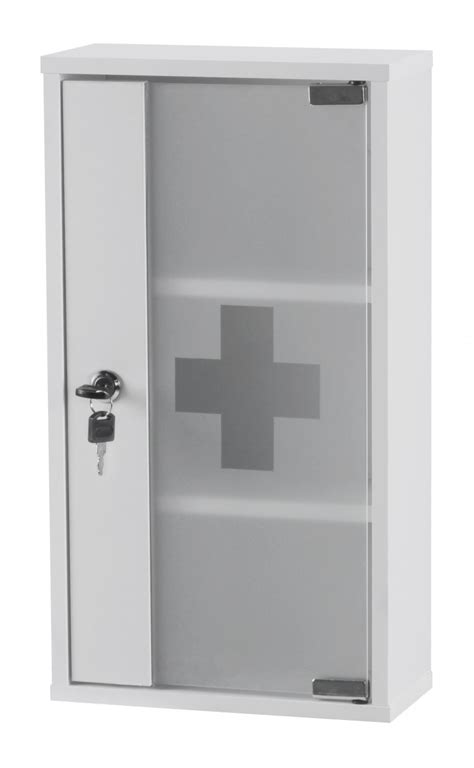 wohnling aid medicine cabinet lockable white glass