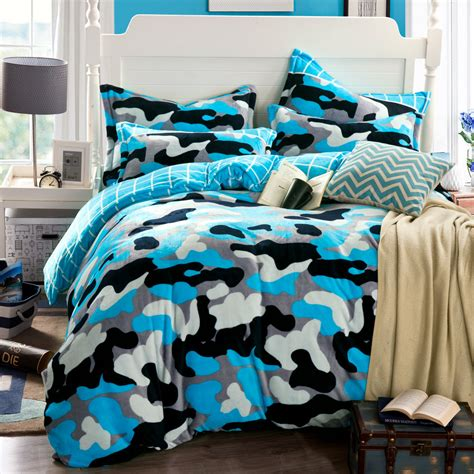 camouflage duvet cover blue bed sheets funda nordica
