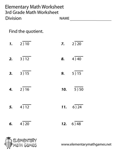 Worksheets Division by Third Grade Division Worksheet