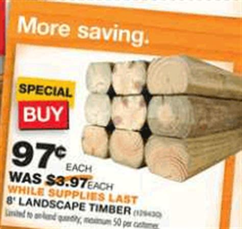 home depot landscape timbers only 0 97 happy money saver