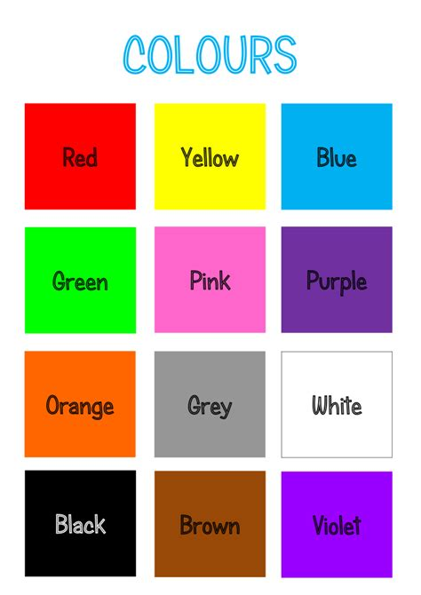 teaching colors teaching thursday colours printable