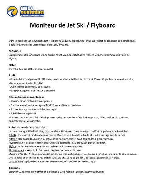Exemple De Lettre De Motivation Moniteur éducateur Glissevolution Recherche Un Moniteur De Jet Ski Flyboard