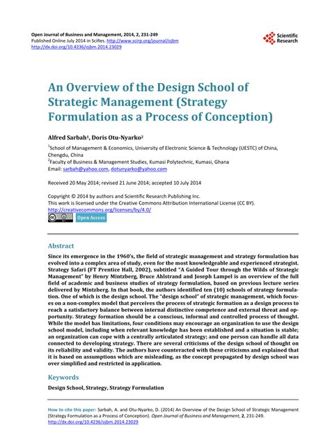 strategic design research journal unisinos pdf an overview of the design school of strategic