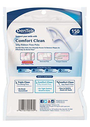 dentek comfort clean back teeth dentek comfort clean floss picks fresh mint 150 each pack