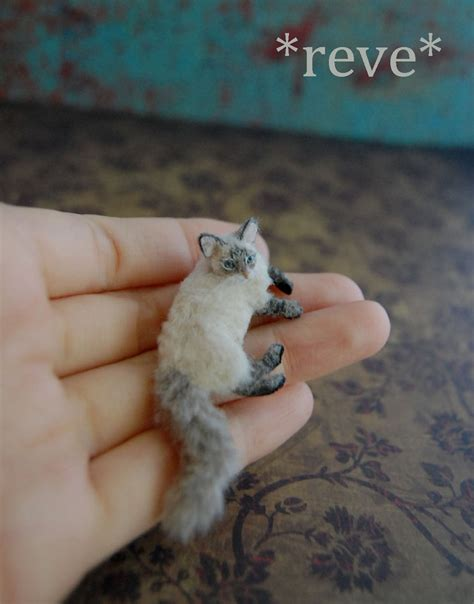Handmade Cat - blue lynx point cat handmade miniature sculpture by