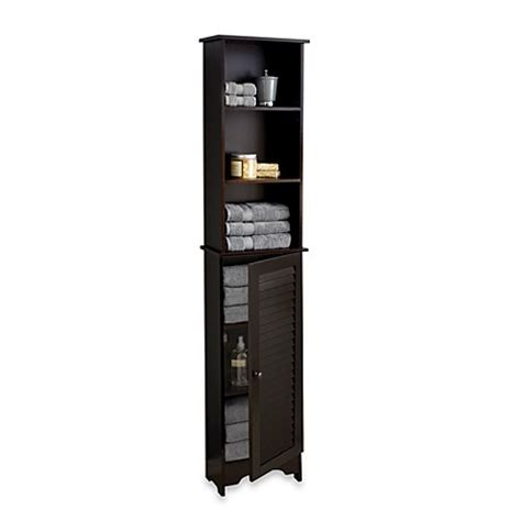 bed bath and beyond bathroom cabinet louvre bath tall cabinet in espresso bed bath beyond
