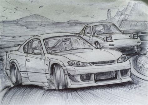 drift cars drawings sketch s15 silvia vs fd rx 7 by tougedrifting85 on