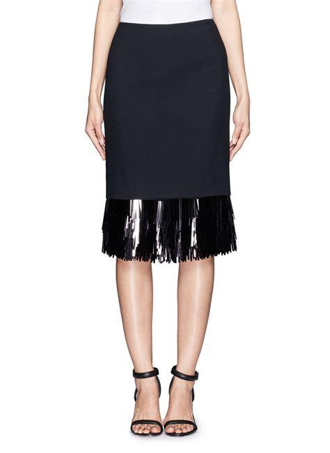 jason wu sequin fringe hem pencil skirt in black lyst