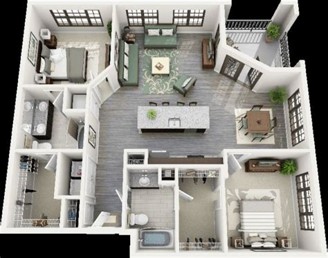 Two Bedroom House Interior Design 50 Plans 3d D Appartement Avec 2 Chambres