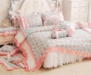 pink ruffle comforter pink ruffle lace princess cotton wedding 4pcsbedding set