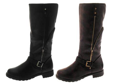 Fleece Boots womens aviator fleece lined biker boots knee length