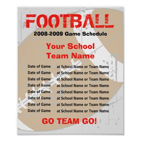 Football Schedule Poster Template Zazzle Com Football Snack Schedule Template
