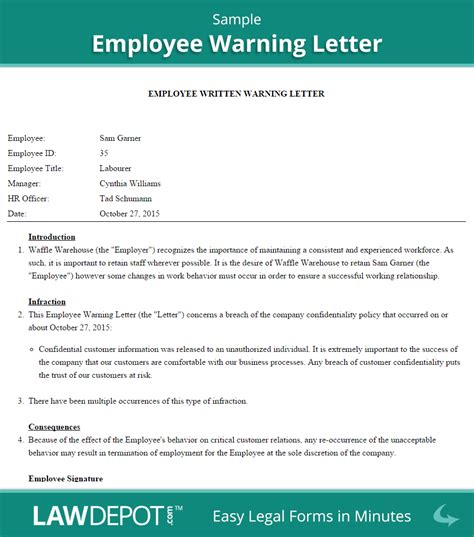 Labour Warning Letter Template Employee Warning Letter Free Employee Warning Form Us Lawdepot