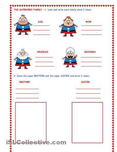heroes printable worksheets the super hero family worksheet islcollective com free