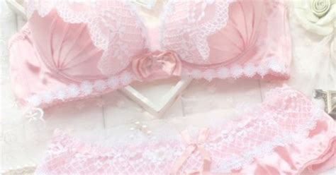 Bra Branded Set Sweet Blue With Pink Lace pink pastel lace bra kawaii