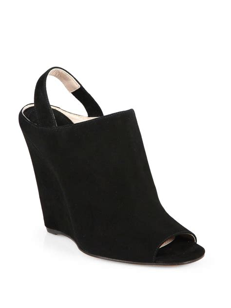 Hk Wedges Suede 2 lyst miu miu suede wedge slingback sandals in black