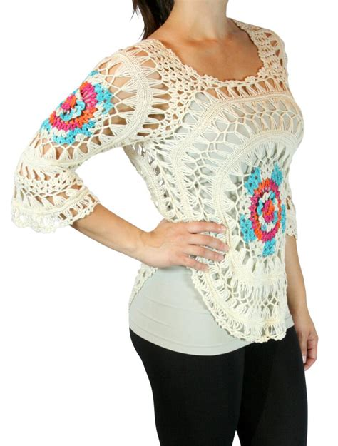 Handmade Top - s colorful knit crochet poncho cover up top handmade