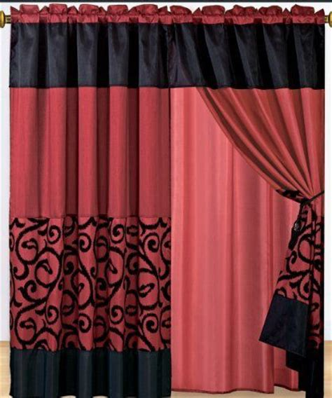 burgundy and black curtains 1 pair of candice black with burgundy window curtain set