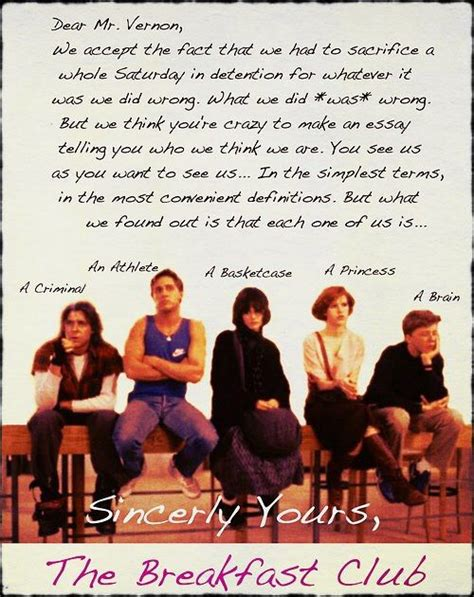 breakfast club rules quotes life lessons   quotes breakfast club letter