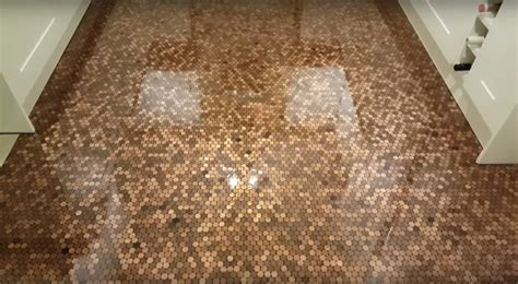 The UK Penny Floor Project   diy Thought