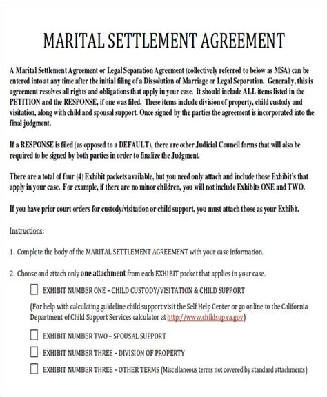 6 Divorce Agreement Sles Sle Templates Marriage Settlement Agreement Template