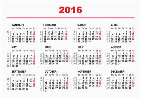 Calendario X Semanas 2016 Vectores De Stock De Calendar Ilustraciones De Calendar