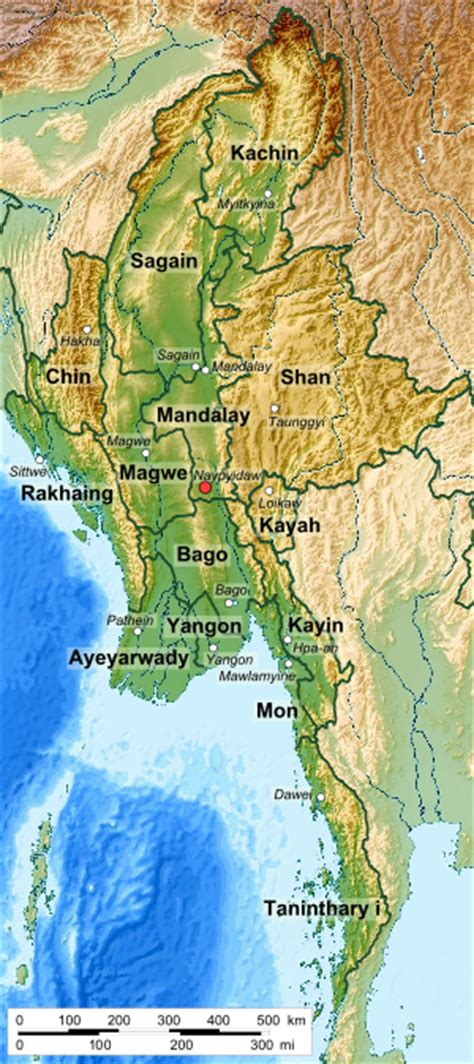 myanmar physical map myanmar