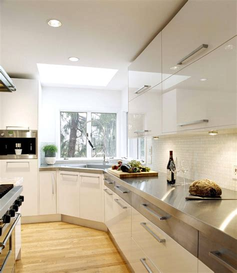Stainless Steel Kitchen Countertops Modern White Kitchen With Stainless Steel Countertops Decoist