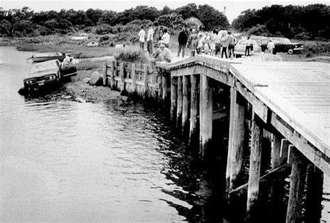 Chappaquiddick Bridge Today Crowds Gather To The Car Which Sen Edward Kennedy Drove Bridge With Jo
