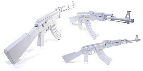 Papercraft Ak 47 - ak 47 paper gun model kit for terrorizing paper dolls