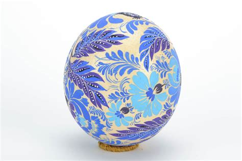 decorative easter eggs home decor madeheart gt beautiful ostrich egg with folk blue petrikov