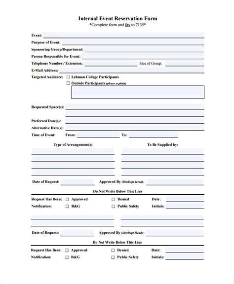 event booking form template word 10 sle reservation forms sle templates
