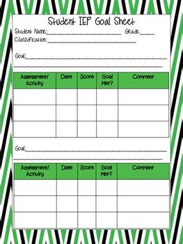 Student Iep Goal Tracking Sheet By Ko Co S Classroom Tpt Iep Goal Template