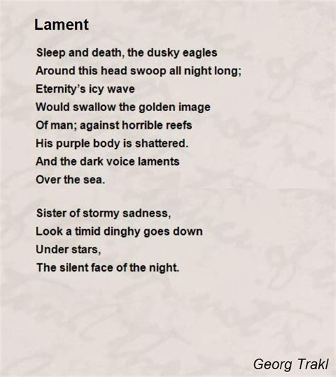 remember 40 poems of loss lament and books lament poem by georg trakl poem