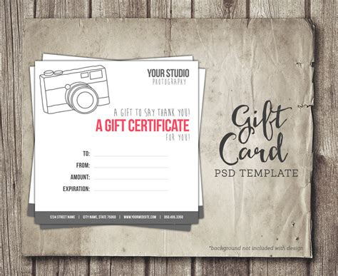 gift certificate template for photographers photography gift card template digital gift certificate