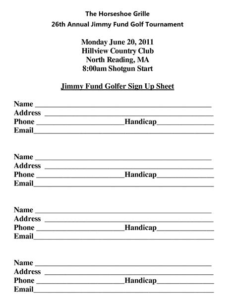 golf outing sign up sheet template best photos of sign up sheet name sign up sheet template
