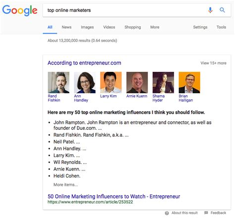 google images can t click some google featured snippets showing quot according to quot above