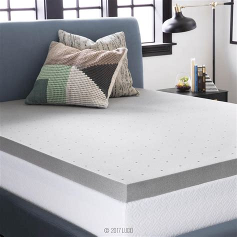 King Bed Topper by Lucid 3 In Cal King Bamboo Charcoal Memory Foam Mattress