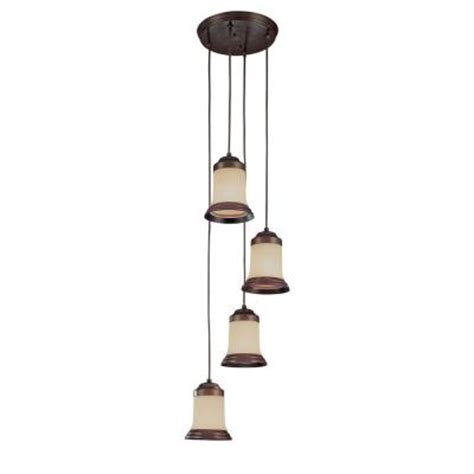 Home Depot Chandelier Shades Hton Bay 4 Light 72 In Staggered Antique Bronze Chandelier With Wheat Glass Shades Ec9064abz