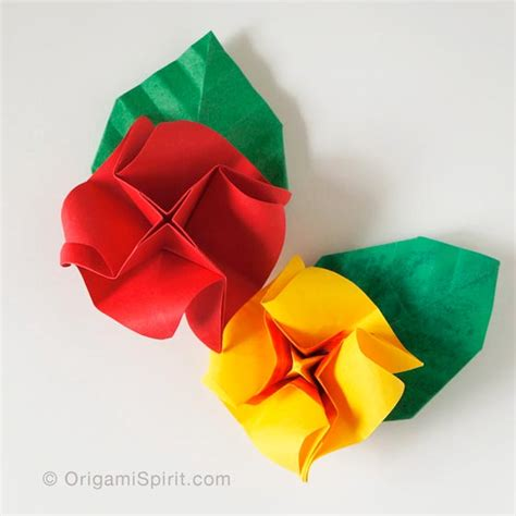 Rosa De Origami - how to make a and easy origami and a leaf