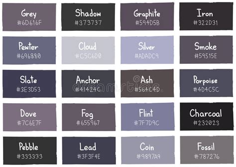 shades of grey color names grey tone color shade background with code and name stock